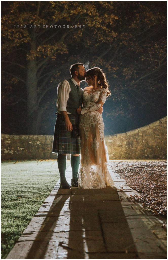 Wedding photographers Edinburgh moonlight kiss