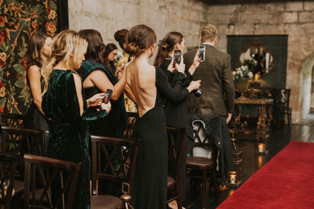 Borthwick Castle Wedding Photography the congregation