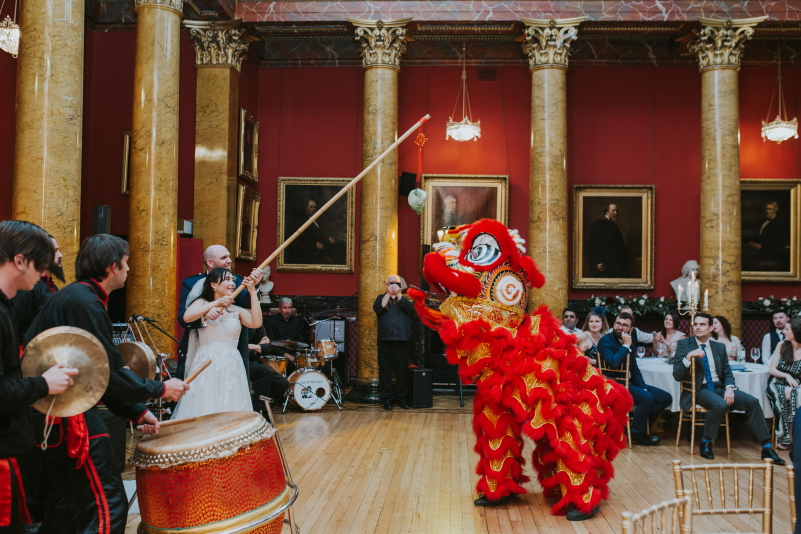 The lion dance chinese wedding